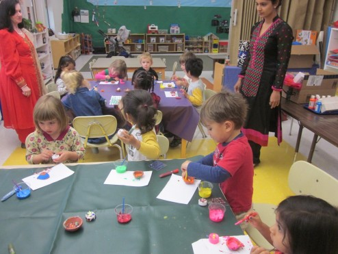 "North Class students celebrate Diwali with ""candle"" decorating and dancing"
