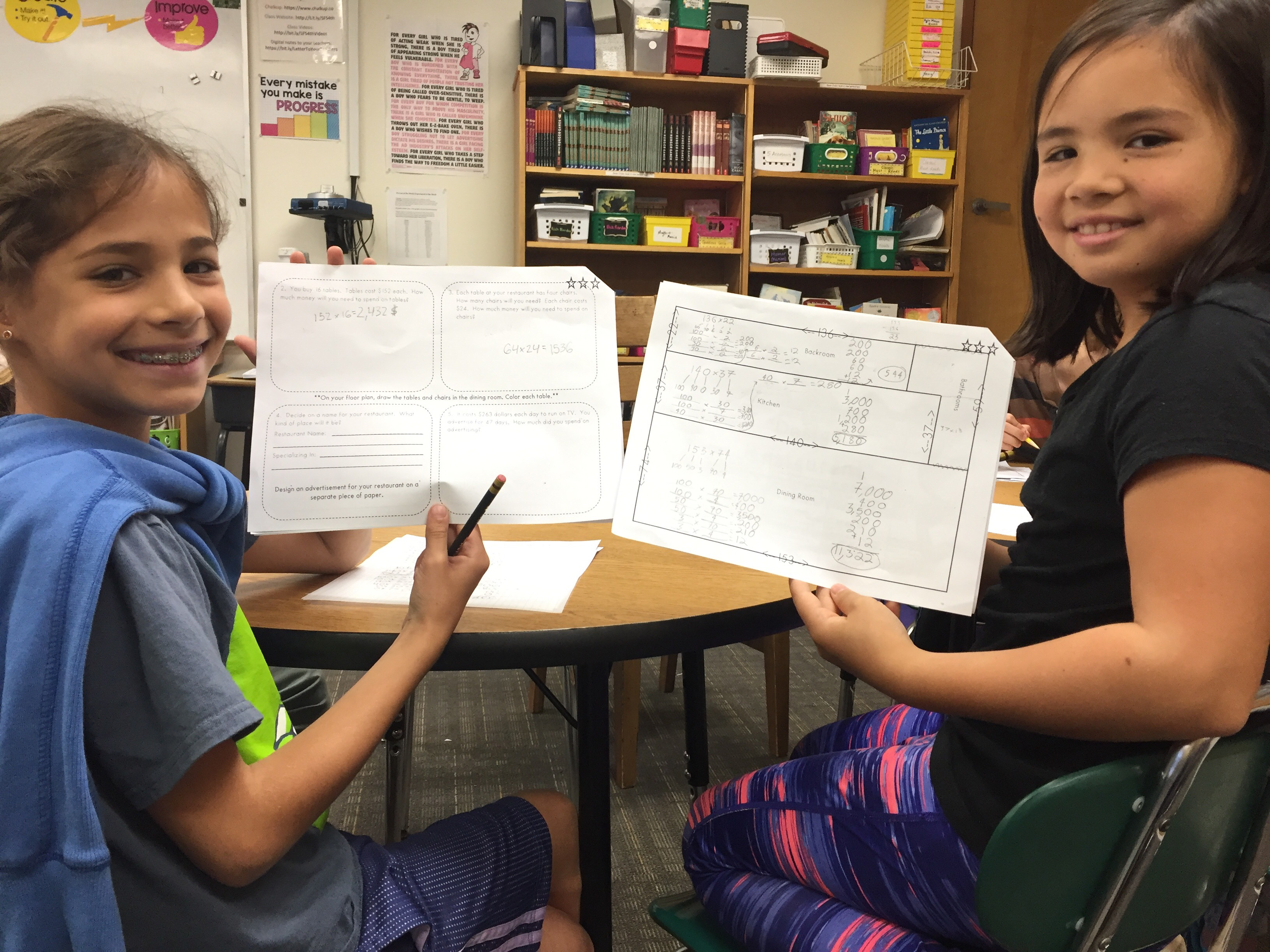 Fourth Grade students complete a multiplication restaurant design challenge