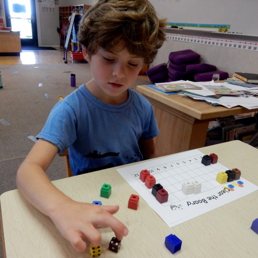 <em>When playing Clear the Board, students arrange their own blocks to clear.</em>