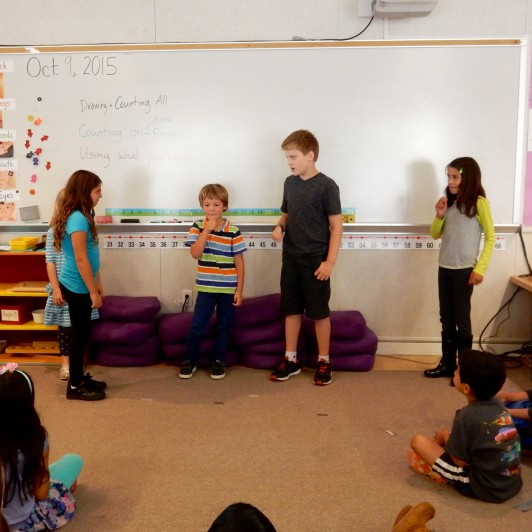 <em>Students then performed their skits, and the audience worked to guess what emotion was on display.</em>