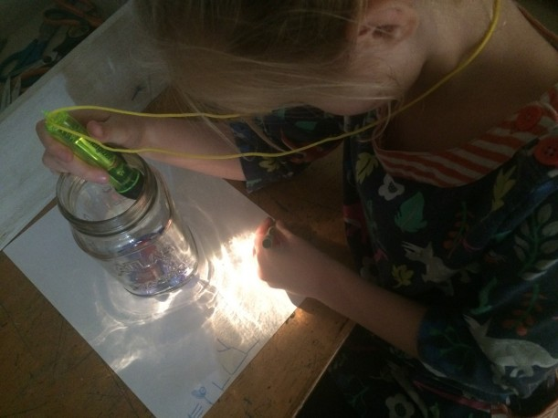 Capture the Light: The flashlight reflects abstract lines and shapes that students trace