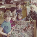Kids at play in the North Class, early 1980s. Students left to right, back row: Miki, Jessie, Sal, Front row: Jenti, Eric, Nathan