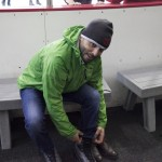 Steve Morris getting ready for the rink during the annual Elementary and Middle School Ice Skating Trip