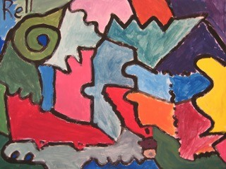 Second graders study line, shape, color and texture.