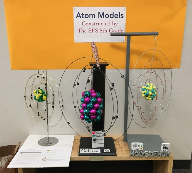 Middle school students create models of cells and atoms san the 8th grade project asked students to design and build a 3d model of a specific atom of their choice their choice showing the atomic structure including ccuart Image collections